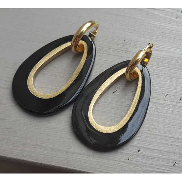 Creoles drop pendant black buffalo horn gold inside