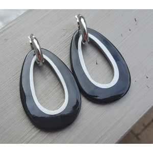 Creoles drop pendant black buffalo horn silver inside