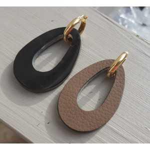 Creolen met Buffelhoorn hanger dubbel wear zwart / bruin leer