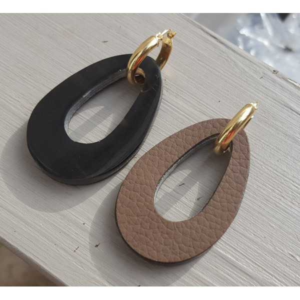 Creoles with buffalo horn pendant double wear black / brown leather