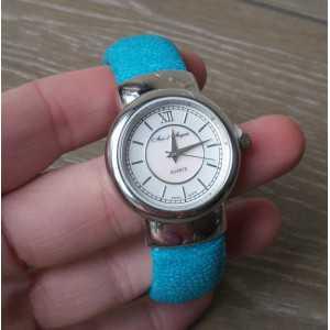 Zilveren horloge / armband van Turkoois Roggenleer