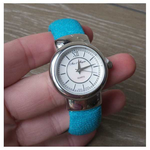 Silver watch / Armband Türkis Roggenleer