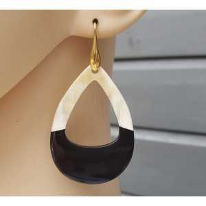 Earrings with open drop of buffalo horn half black half white