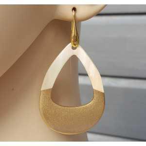 Earrings with open drop of buffalo horn half gold half white