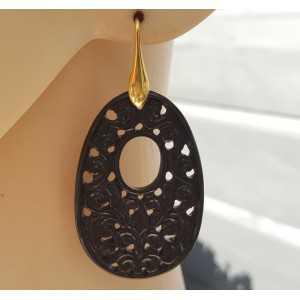 Oorbellen met ovale hanger van uitgesneden zwarte Onyx