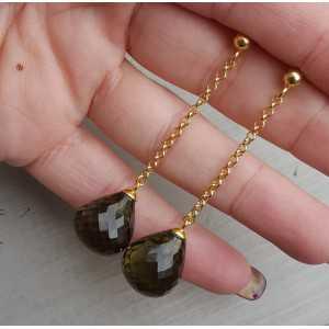 Lange oorbellen met grote groene Amethist quartz briolet