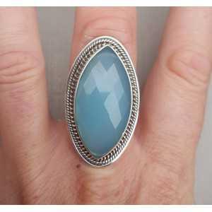 Zilveren ring gezet met marquise facet aqua Chalcedoon 17.3
