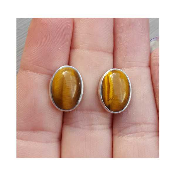 Silver gemstone oorknoppen with cabochon tiger's eye