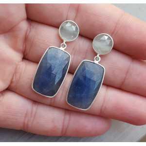 Zilveren oorbellen met ronde Aquamarijn en Saffier