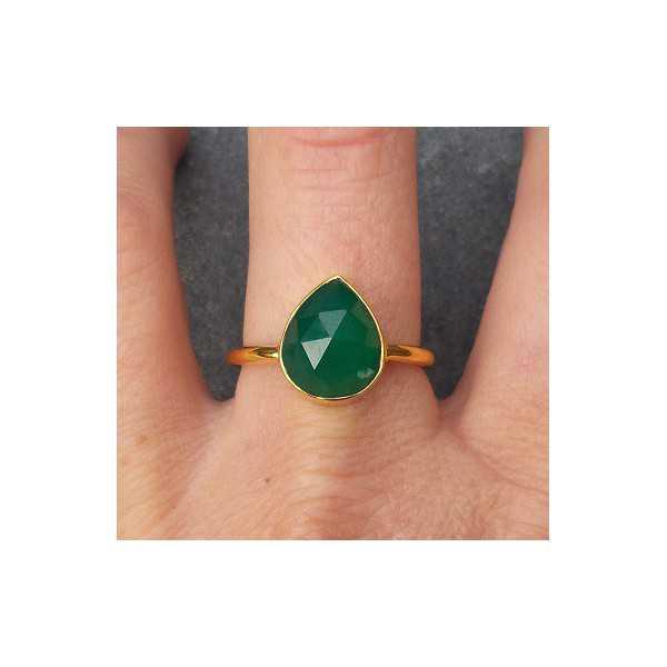 Vergoldet ring mit oval facettierten grünen Onyx 18,5 mm
