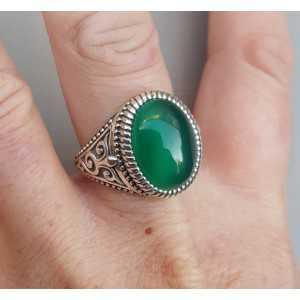 Zilveren ring met groene Onyx (mannen ring) 20 mm