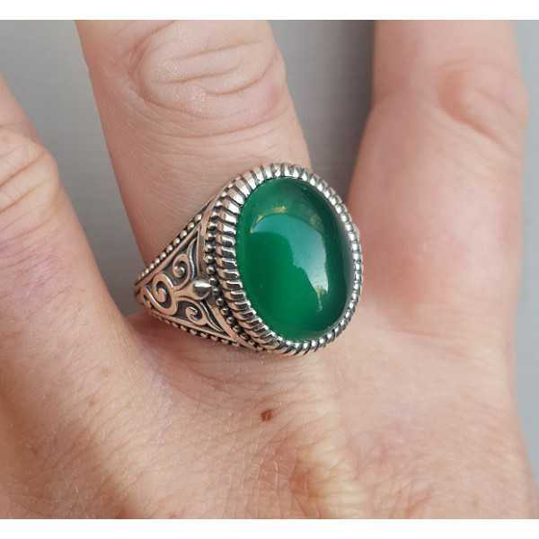 Silver ring with green Onyx (men ring) 20 mm