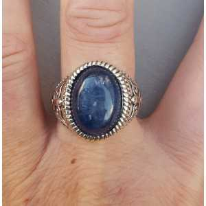 Silver ring with oval Kyanite (men ring) 20 mm