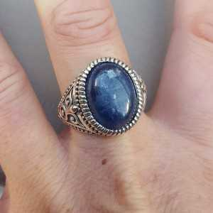 Zilveren ring met ovale Kyaniet (mannen ring) 20 mm