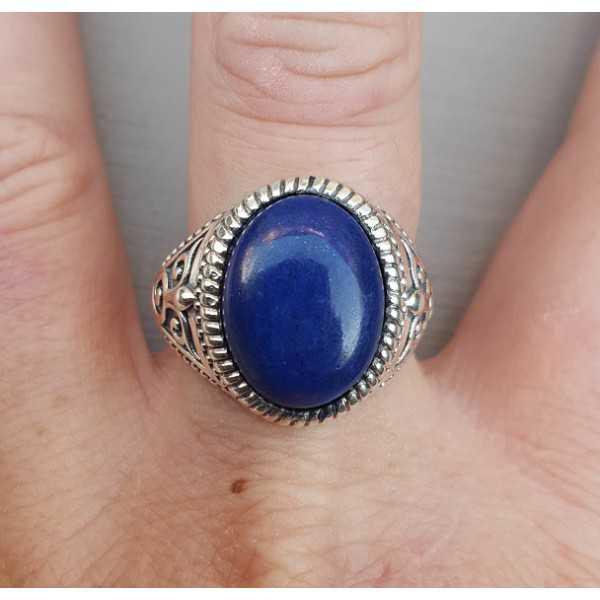 Zilveren ring met ovale Lapis Lazuli (mannen ring) 20 mm