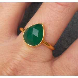 Gold plated ring with oval shape faceted green Onyx 18.5 mm