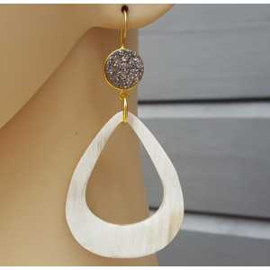 Gold plated earrings druzy Titanium and drop of buffalo horn