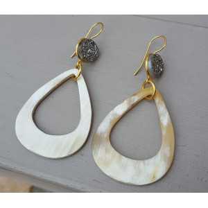 Gold-plattiert druzy-Ohrringe Titan und Tropfen buffalo horn
