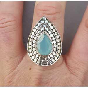 Zilveren ring druppelvormige aqua Chalcedony verstelbaar