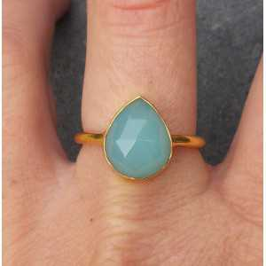 Gold plated ring with oval shape faceted aqua Chalcedony 18.5 mm