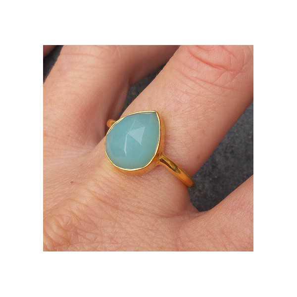 Vergoldet ring mit oval facettierten aqua Chalcedon 18,5 mm