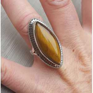 Silber ring mit marquise tiger ' s eye 17 mm