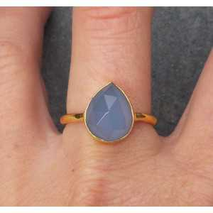 Gold plated ring with oval shape faceted blue Chalcedony 18.5 mm