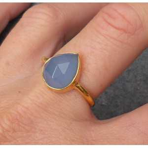 Gold plated ring with oval shape faceted blue Chalcedony 18 mm