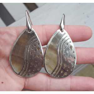 Silber Ohrringe Blacklip-Muschel mit Silber-Rahmen