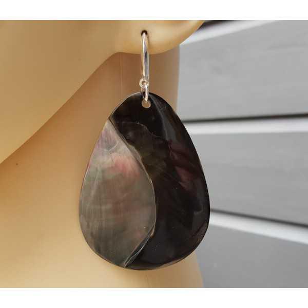 Oorbellen met grote Yin Yang van Blacklip schelp
