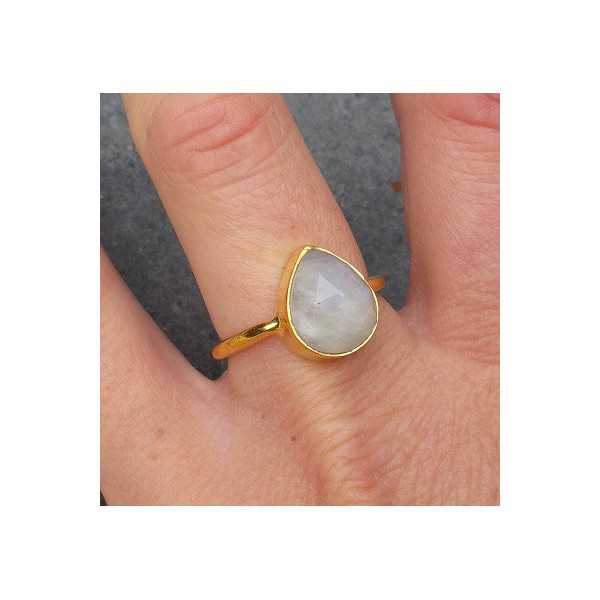 Gold-plated ring set with oval shape faceted Moonstone 18.5 mm