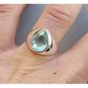 Zilveren ring met druppelvormige facet Aquamarijn 17 mm
