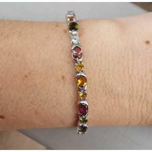 Zilveren armband met facet geslepen Toermalijn