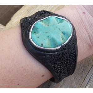 Armband van Roggenleer en gezet met Turkoois Howliet