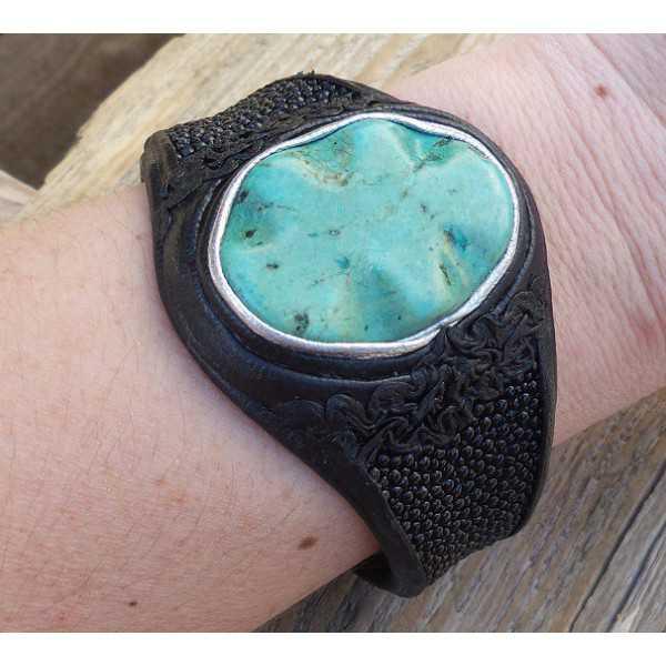 Armband von Roggenleer und setzen Sie mit Türkis Howliet