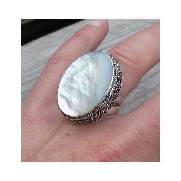 Silber ring mit große Perlmutt geschnitzte Einstellung, 16,5 mm