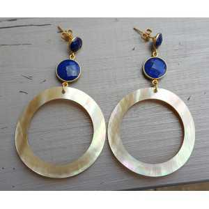 Goud vergulde oorbellen met Lapis Lazuli en ring van schelp