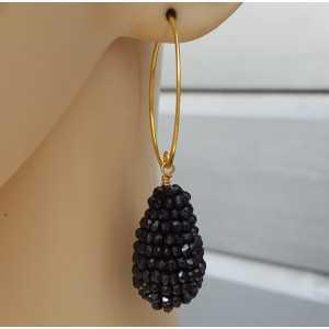 Oorbellen met druppel van zwarte Onyx steentjes