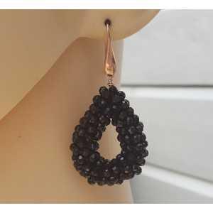 Oorbellen met open druppel (small) van zwarte Onyxen