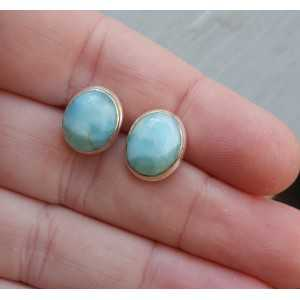 Silver oorknoppen set with large oval Larimar