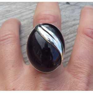 Silber ring mit großen, ovalen Amethyst-Größe 18.5 mm