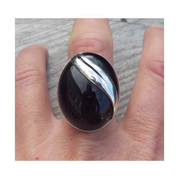 Silver ring with large oval Amethyst size 18.5 mm