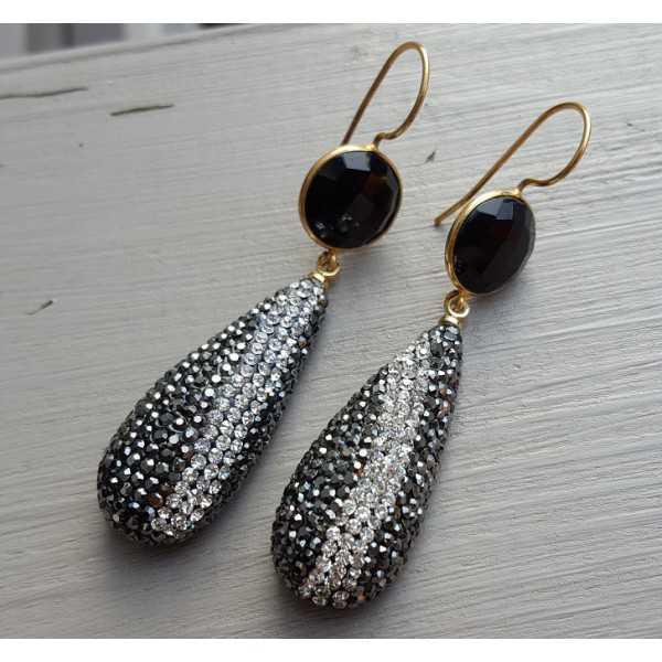 Vergoldete Ohrringe-Tropfen-Kristallen und Onyx
