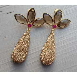 Gold-plated earrings drop crystals and Smokey Topaz