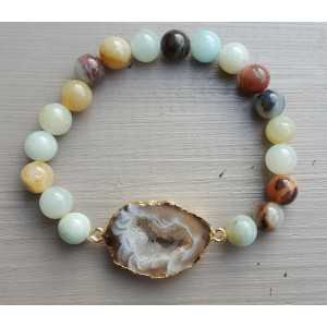 Bracelet with Geode Agate and Amazonite