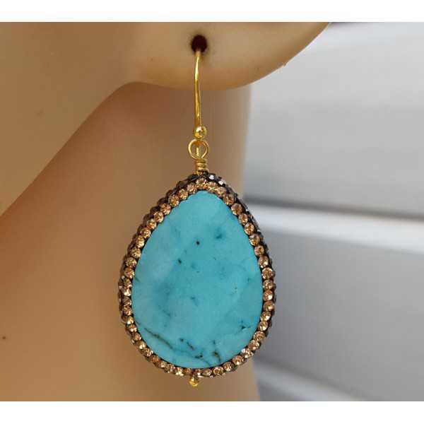 Gold plated earrings with Turquoise and crystal edge