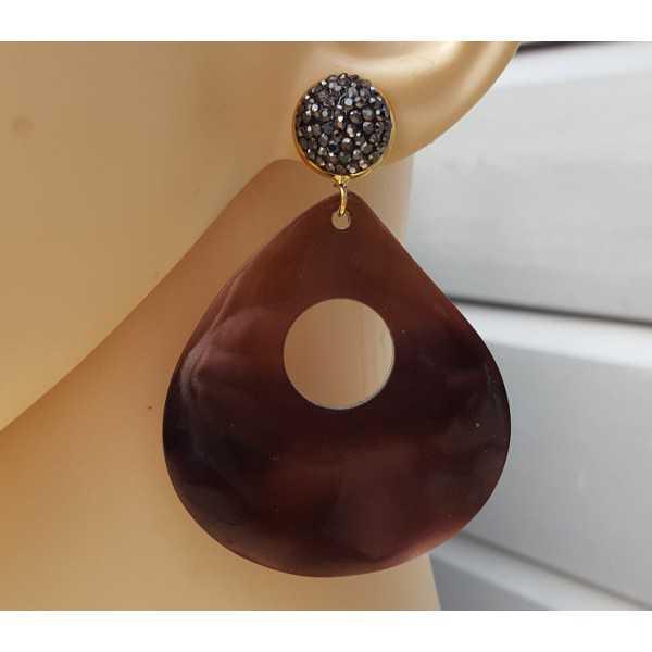 Ohrringe mit großen braunen shell und Kristalle