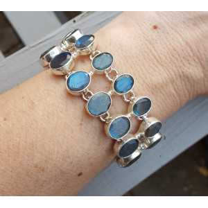 Silver bracelet with two rows of facet cut oval Labradorite