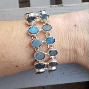 Silber Armband mit zwei Reihen von facet cut oval Labradorit