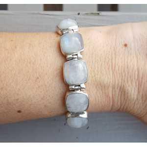 Silber-Armband-eckige Regenbogen-Mondsteine und Schloss